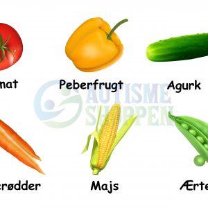 Piktogrammenu til autister: Grøntsager med danske tekster