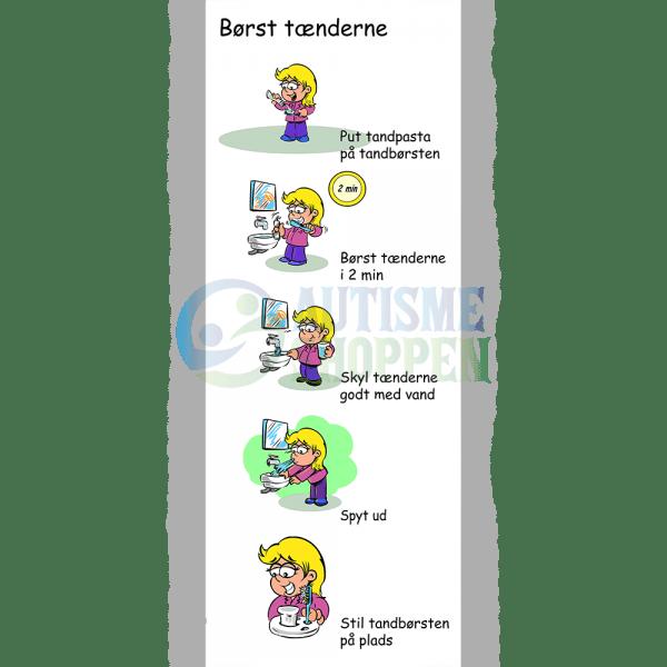 Træningspiktogrammer for autister, Børst tænderne, pige