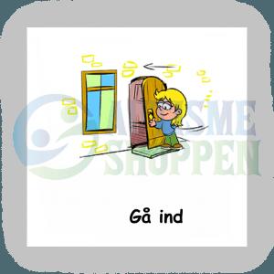 Piktogram med daglige rutiner til autister: gå ind, pige