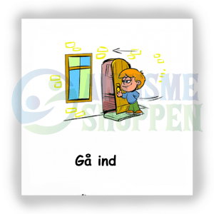 Piktogram med daglige rutiner til autister: Gå ind, dreng