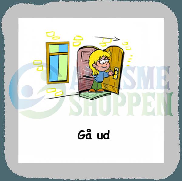 Piktogram med daglige rutiner til autister: gå ud, pige