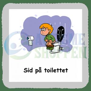 Piktogram med daglige rutiner til autister: sidde på toilettet, dreng
