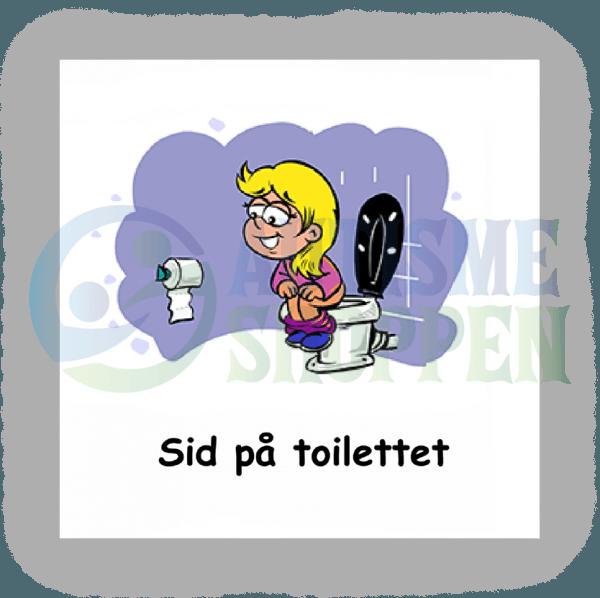 Piktogram med daglige rutiner til autister: sidde på toilettet, pige