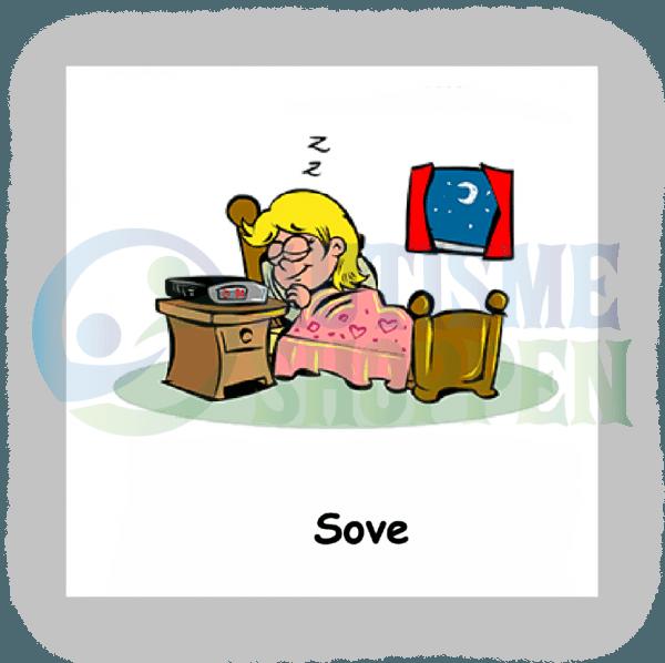 Piktogram med daglige rutiner til autister: sove, pige
