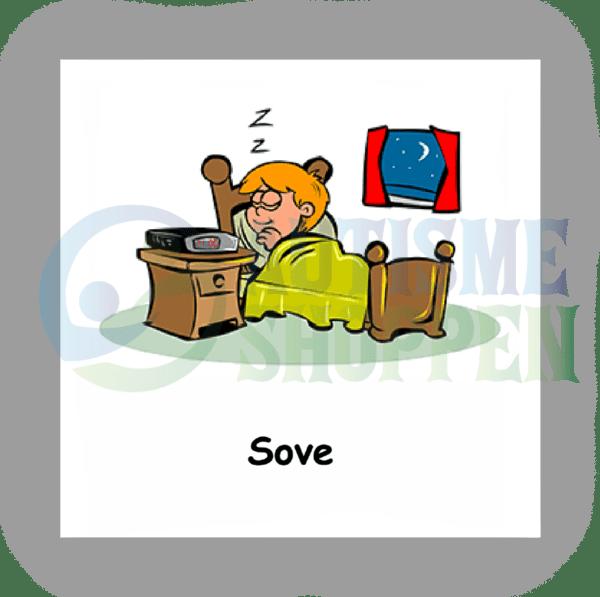 Piktogram med daglige rutiner til autister: sove, dreng