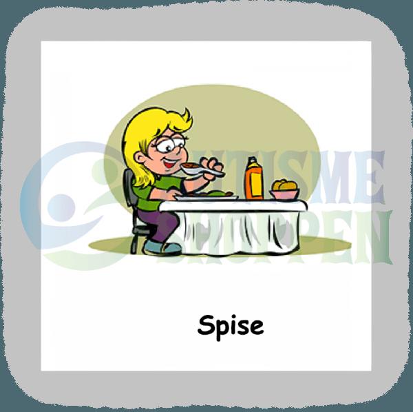 Piktogram med daglige rutiner til autister: spise, pige