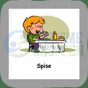 Piktogram med daglige rutiner til autister: spise, dreng