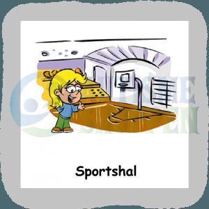 Piktogram med daglige rutiner til autister: sportshal, pige