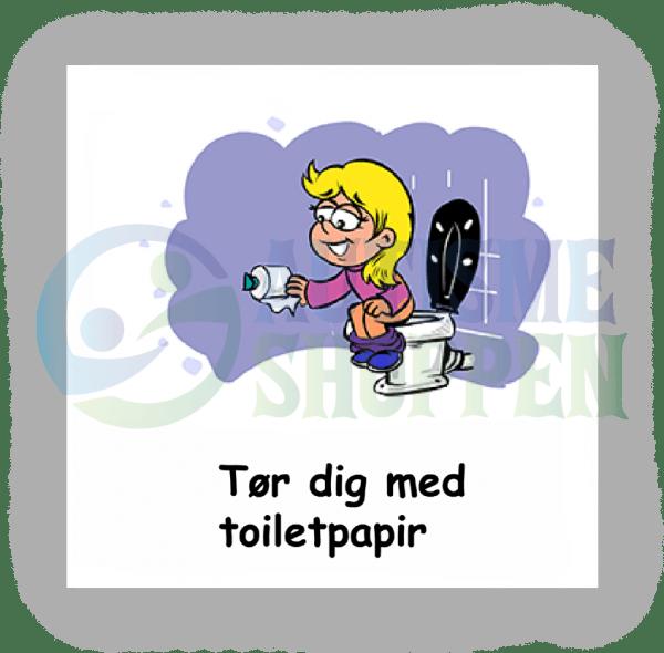 Piktogram med daglige rutiner til autister: Tør dig med toiletpapir, pige
