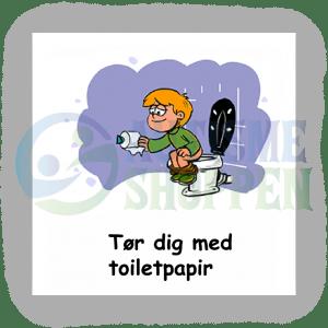 Piktogram med daglige rutiner til autister: tør dig med toiletpapir, dreng