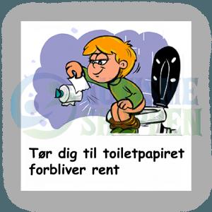 Piktogram med daglige rutiner til autister: rent toiletpapir, dreng