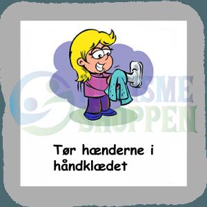 Piktogram med daglige rutiner til autister: Tør hænderne i håndklædet, pige