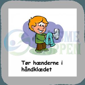 Piktogram med daglige rutiner til autister: tør hænderne, dreng