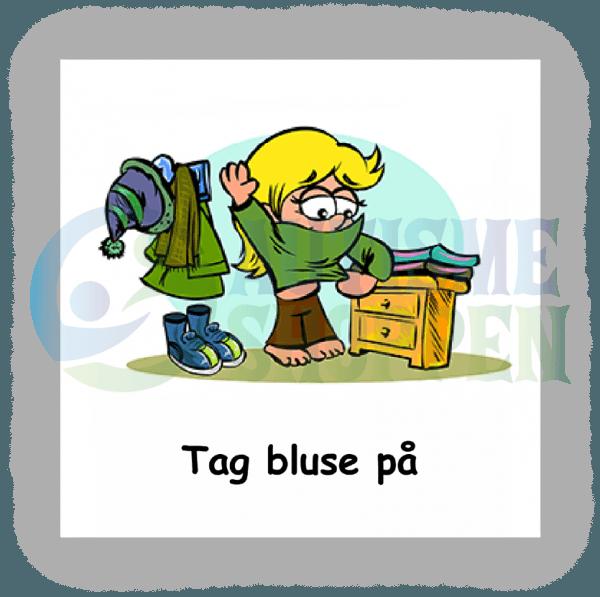 Piktogram med daglige rutiner til autister: Tag bluse på, pige