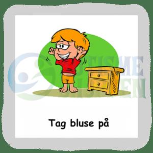 Piktogram med daglige rutiner til autister: tag bluse på, dreng