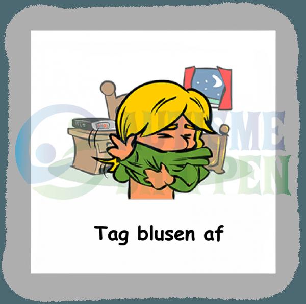 Piktogram med daglige rutiner til autister: Tag blusen af,, pige