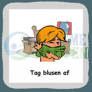 Piktogram med daglige rutiner til autister: tag blusen af, dreng