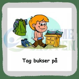 Piktogram med daglige rutiner til autister: tag bukser på, dreng