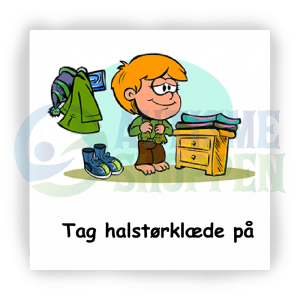 Piktogram med daglige rutiner til autister: tag halstørklæde på, dreng