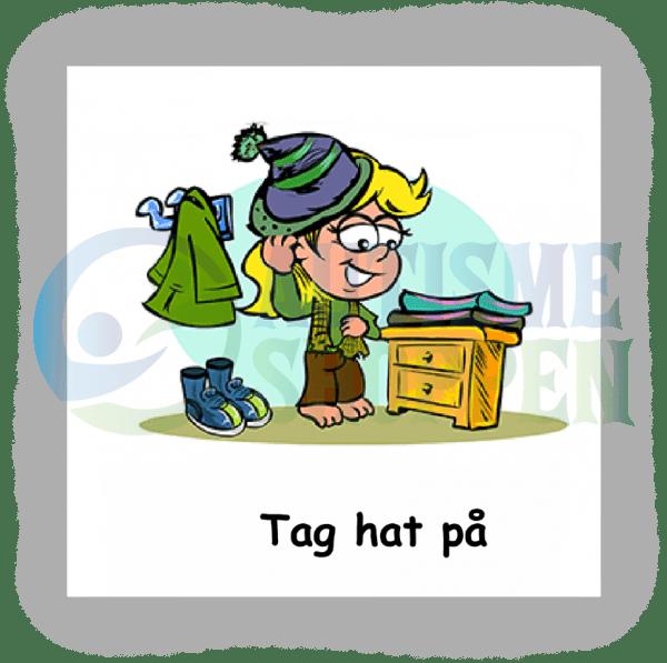 Piktogram med daglige rutiner til autister: Tag hat på, pige