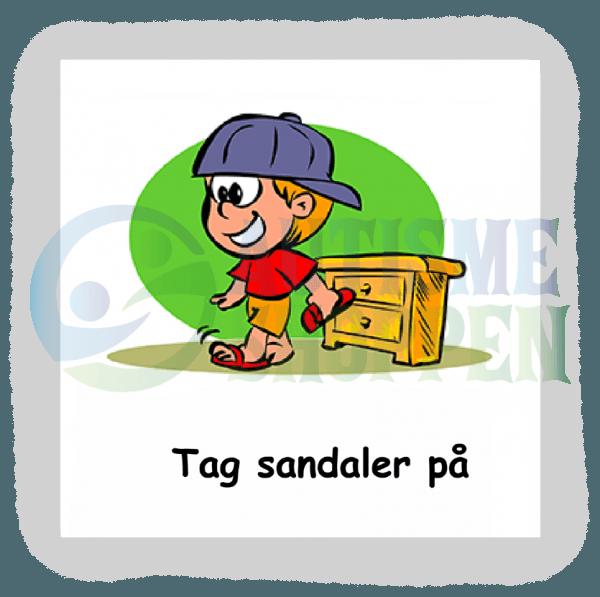 Piktogram med daglige rutiner til autister: tag sandaler på, dreng