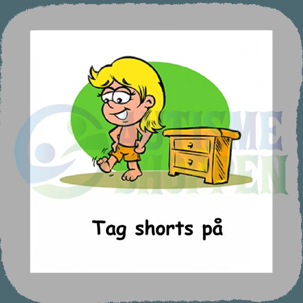 Piktogram med daglige rutiner til autister: Tag shorts på, pige