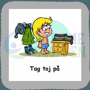 Piktogram med daglige rutiner til autister: Tag tøj på, pige