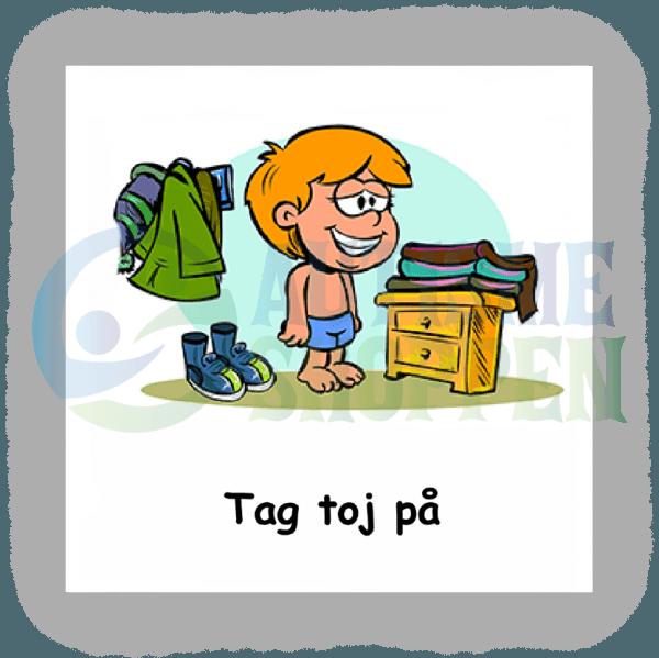 Piktogram med daglige rutiner til autister: tag tøj på, dreng