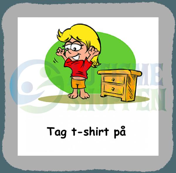 Piktogram med daglige rutiner til autister: Tag t-shirt på, pige