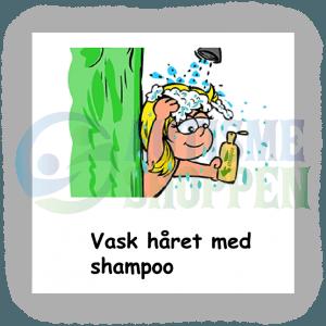 Piktogram med daglige rutiner til autister: Vask håret med shampoo, pige