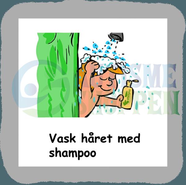 Piktogram med daglige rutiner til autister: Vask håret, dreng