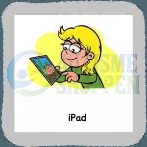 Piktogram med daglige rutiner til autister: tablet, pige