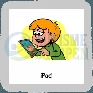 Piktogram med daglige rutiner til autister: tablet, dreng