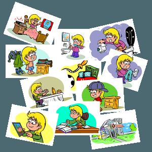 56 piktogrammer med daglige rutiner, pige, værdipakke