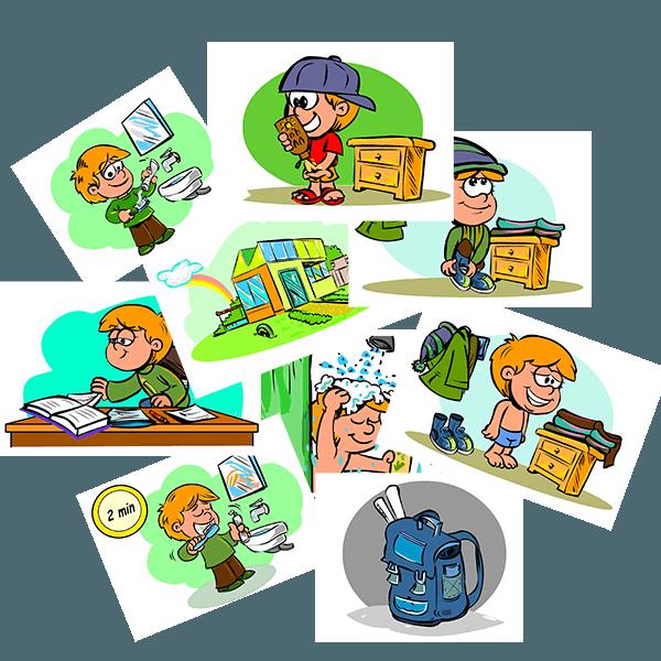 56 piktogrammer med daglige rutiner til drenge med autisme, værdipakke